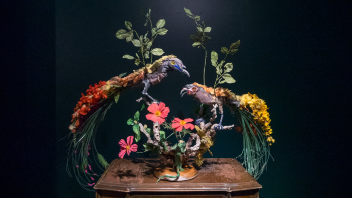 """Apologue II (Birds of Paradise) – detail, 2016, dimensions: 48"""" x 27"""" x 12"""" textiles, resin, found greenery & faux flowers, found objects"""